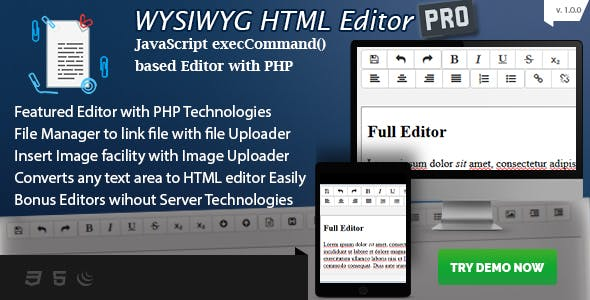 HTML Editor Plugins, Code & Scripts from CodeCanyon