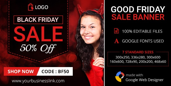 GWD | Black Friday Sale HTML5 Banners - 07 Sizes - CodeCanyon Item for Sale