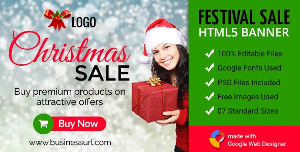 GWD | Christmas Sale HTML5 Banners - 07 Sizes - CodeCanyon Item for Sale