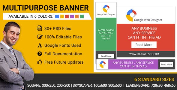 GWD | Multipurpose HTML5 Banners - 6 Color Variations