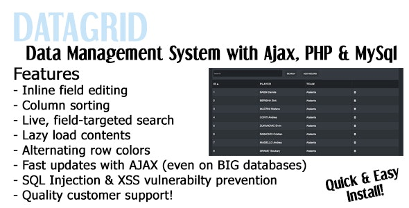 Datagrid Ajax Tables Data Management System - CodeCanyon Item for Sale