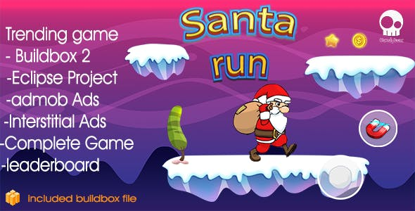 Santa Runner  & + Buildbox 2 file + Admob + Leaderboard + Review + Share Button