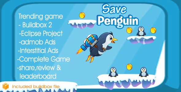 Save Penguin & Eclipse + Buildbox 2 file + Admob + Leaderboard + Review + Share Button - CodeCanyon Item for Sale