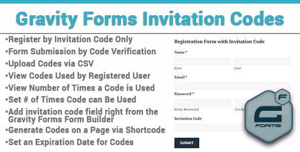 Gravity Forms Invitation Codes