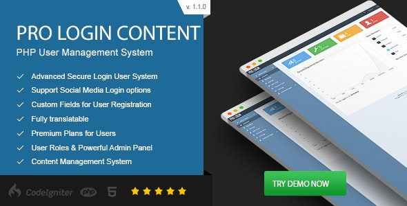 Pro Login Content - CMS Secure User Management System - CodeCanyon Item for Sale