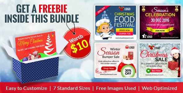 GWD | Merry Christmas HTML5 Ad Banner Bundle - With Attractive Freebie