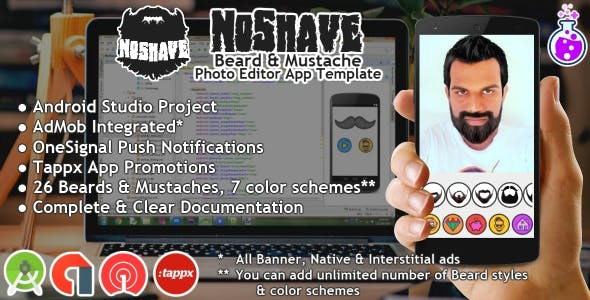 NoShave - Beard & Mustache Photo Editor APP Template
