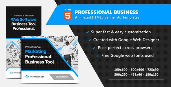 Professional Business HTML5 Banner Ads - Animated GWD Templates