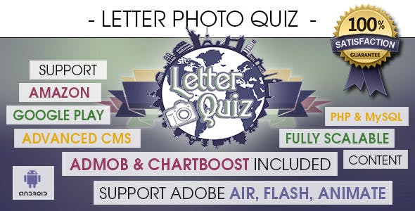 Letter Photo Quiz With CMS & Ads - Android [ 2020 Edition ]