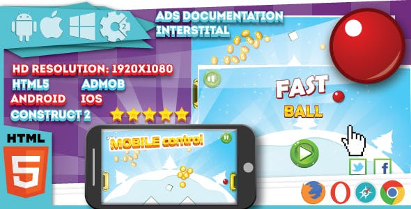Fast ball - HTML5 game. Construct2 (.capx) + mobile