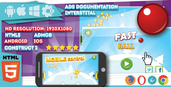 Fast ball - HTML5 game. Construct2 (.capx) + mobile - CodeCanyon Item for Sale