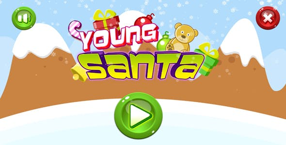 Young santa - HTML5 game. Construct 2(.capx) + mobile + leaderboard