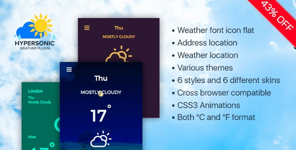 Weather Plugin-Widgets Weather - CodeCanyon Item for Sale