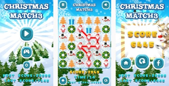 Christmas Match3 - HTML5 Game + Android + AdMob (Construct 3 | Construct 2 | Capx)