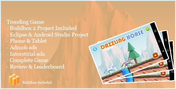 Dazzling Horse Runner - Complete Buildbox Game + Eclipse & Android Studio Project