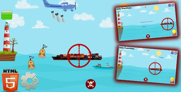 Water Attack - HTML5. Construct 2 Game (.Capx)