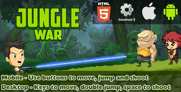 Jungle War - HTML5 Game (CAPX) - CodeCanyon Item for Sale