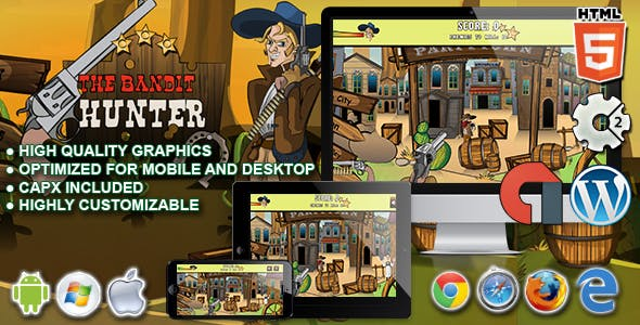 The Bandit Hunter - HTML5 Construct 2 Game