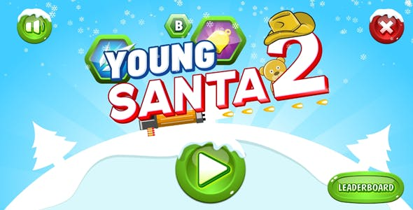 Young Santa 2 - HTML5 Game. Construct2 (.capx) + Mobile + Leaderboard