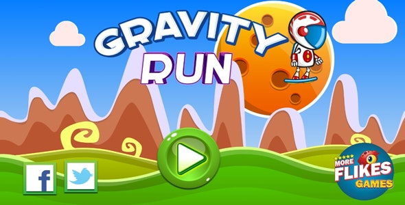 Gravity run - HTML5 game. Construct 2 (.capx) + mobile - CodeCanyon Item for Sale