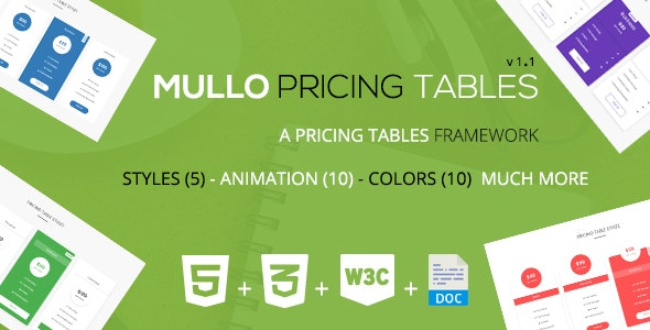 Mullo - A Responsive Pricing Tables Framework | v1.1 - CodeCanyon Item for Sale