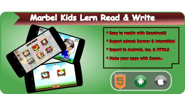 Marbel Kids Learning Read & Write HTML5 Mobile Applications + Admob - CodeCanyon Item for Sale