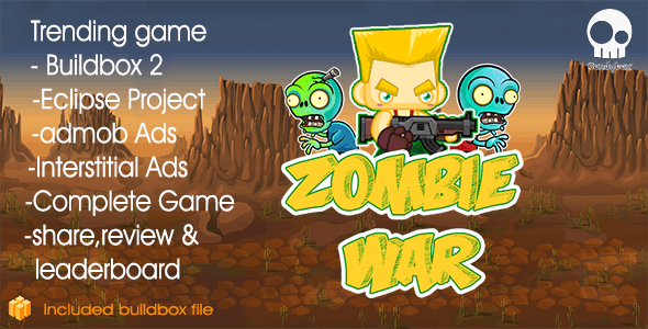 Zombie War - Buildbox 2 Game Template + Android Eclipse Project Template Included