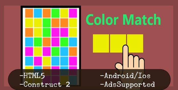 Color Match (HTML5 Game + Construct 2 CAPX)
