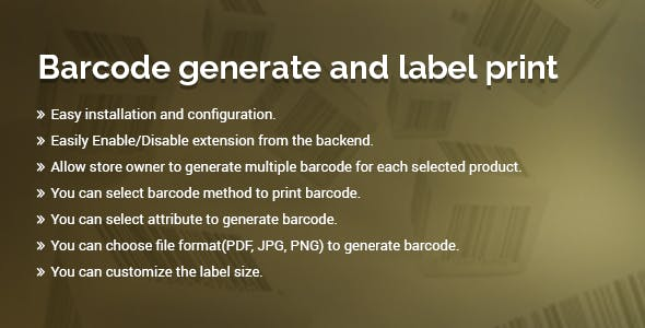 Barcode Magento 2 extension