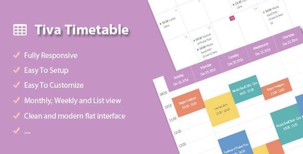 Tiva | Powerful And Easy-To-Use Timetable Plugin For Joomla