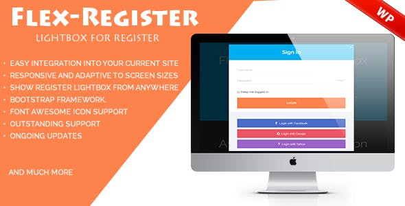 Flex-Register - Bootstrap 3 lightbox for Register Wordpress