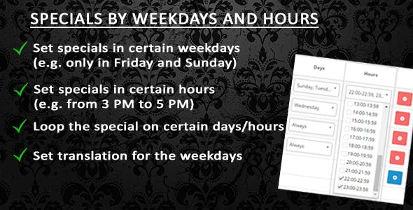 Specials by weekdays and hours (OC 1.5x - 2.x)