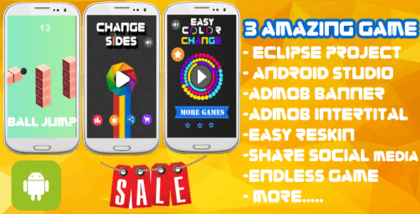 3 Amazing Game - Eclipse & Android Studio + Admob Ads + Endless Game +Share + Review - CodeCanyon Item for Sale