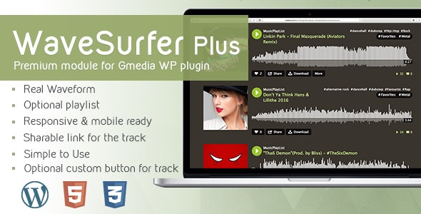 WaveSurfer Plus v1.12 - MP3 Player module for Gmedia plugin - CodeCanyon Item for Sale