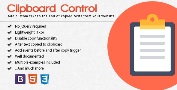 Clipboard Control - Manipulate Clipboard on Copy - CodeCanyon Item for Sale