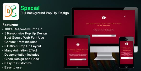 Spacial - Full Background Pop Up Design