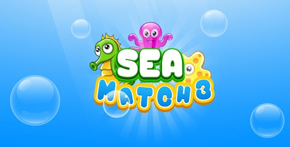 Sea match3 - HTML5 game. Construct 2 (.capx)