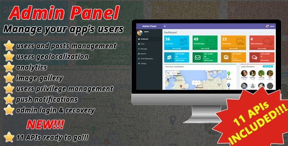 Admin Panel for mobile apps - APIs, User Management, Geolocalization, Analytics & Push Notifications