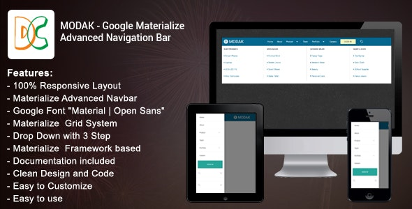 Modak - Materialize Advanced Navbar - CodeCanyon Item for Sale