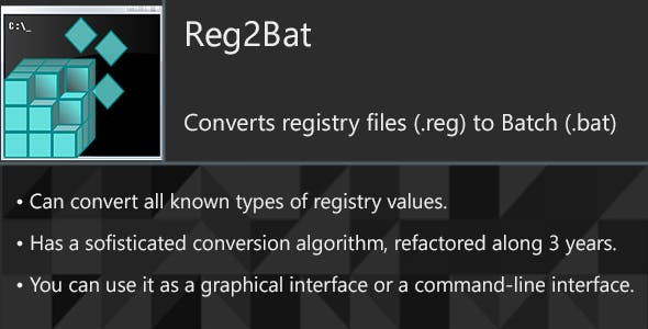 Reg2Bat - Convert registry files (.reg) to Batch (.bat)