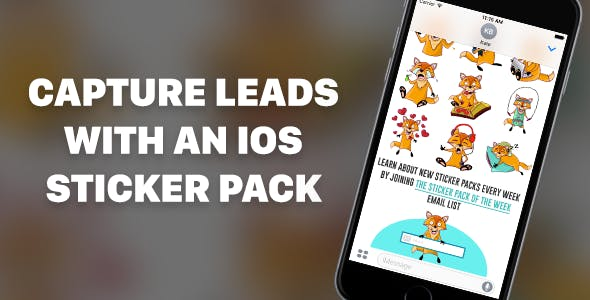 iOS Sticker Pack App Template with Built-In MailChimp Lead Generation
