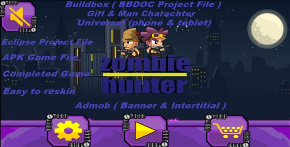 Zombie Hunter (Elipse,Buildbox,APK Project File - Complete