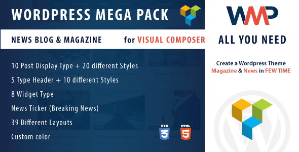 Wordpress Mega Pack for Visual composer - News, Blog and Magazine - All you need - CodeCanyon Item for Sale