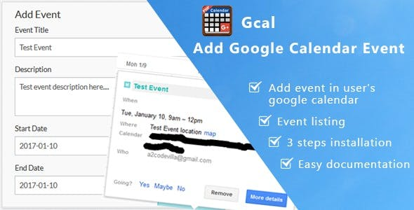 Gcal- Add Google Calendar Event