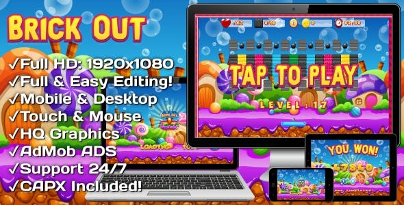 Brick Out - HTML5 Game, Mobile Version+AdMob!!! (Construct 3 | Construct 2 | Capx)