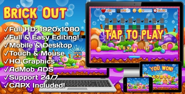 Brick Out - HTML5 Game, Mobile Version+AdMob!!! (Construct 3   Construct 2   Capx) - CodeCanyon Item for Sale