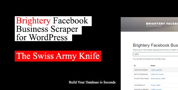 Brightery Facebook Business Scraper for Wordpress
