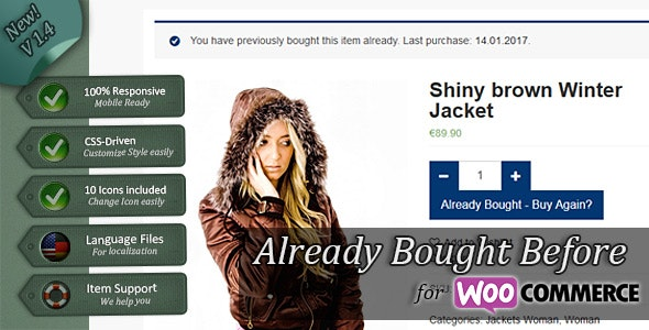 WooCommerce Already Bought Before (ABB) - CodeCanyon Item for Sale