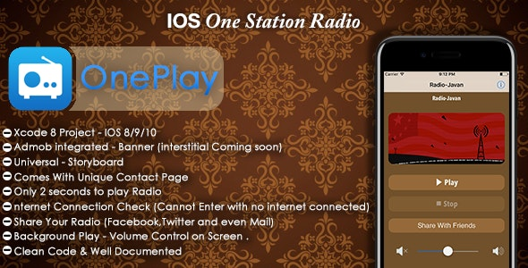 OnePlay - One Station Radio, Admob, in-app purchase(objective c) - CodeCanyon Item for Sale