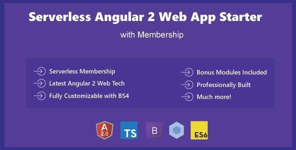 Serverless Angular 2 - Bootstrap 4 Web App Template Starter
